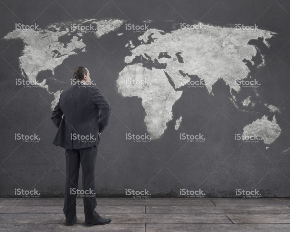 Businessman and world map painting on the wall mgkaya mgkaya gumiabroncs Gallery